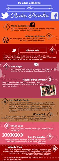 10 citas célebres sobre redes sociales. Infografía en español. #CommunityManager