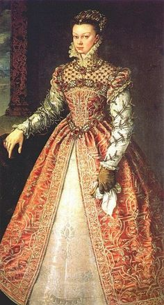 Elizabeth of Valois - eldest daughter of Henry II of France & Catherine de' Medici. Her father insisted she shared her bedroom w/ her future sister-in-law, Mary, Queen of Scots. She had to give precedence to Mary –a crowned queen. The 2 would remain close friends the rest of their lives. Though her sister Margaret & Mary of Scots were prettier, she was still considered attractive. She married to Philip II of Spain. Philip was enchanted by his 14 yr old bride & gave up his mistress.