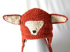 Mr. Fox Baby Ear Flap Hat by SquareFishStudios on Etsy, $24.00