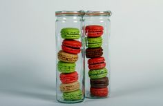 Weck cylindrical jars make perfect packaging for French macarons