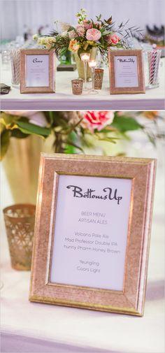 """Framed """"bottoms up"""" bar sign. Captured By: Vitalic Photo #weddingchicks --- http://www.weddingchicks.com/2014/06/13/get-creative-with-an-art-museum-wedding/"""