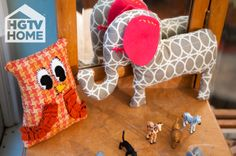 Made + Remade's @Hannah B. made some fun DIY stuffed animals. Handmade gifts perfect for young ones. #12DaysOfHGTVHOME