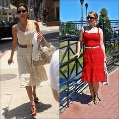 Red crochet dress inspired by Eva Longoria.