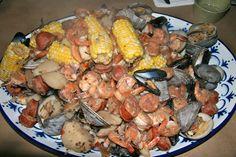 mussels + corn + sausage + potatoes + shrimp