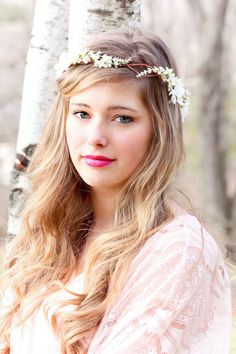 ivory cherry blossom hair crown, Bridal Flower Crown, wedding headpiece, head wreath in ivory, hair accessories, bridal, flower girl. $38.00, via Etsy.