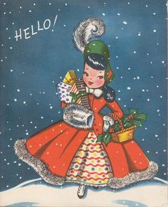 What a marvelously cute - and completely stylish (I want her holiday ensemble!) - 1950s gal on this illustrated Christmas greeting. #card #Christmas #1950s #fifties #retro #dress