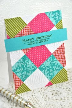 Make It Monday #159: No-Sew Quilted Cards - Happy Birthday Card by Dawn McVey for Papertrey Ink (April 2014)