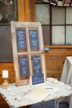 Salvage an old window set into a new seating chart. Great idea to add a vintage feel to a wedding or event.