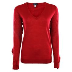 Armani Jeans Womens Red V Neck Sleeve Detail Fine Knit Sweater ($230) ❤ liked on Polyvore