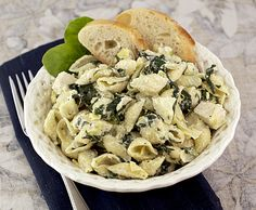 Spinach Artichoke Pasta.  Everything about your favorite-tasting appetizer, with the calories lightened up and then turned into a meal. (Because let's face it, you've eaten a whole meals-worth of the dip before anyway.)