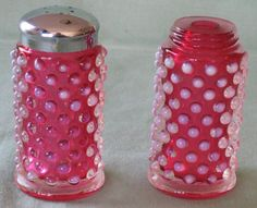 Fenton Cranberry Opalescent Hobnail Salt and Pepper Shakers