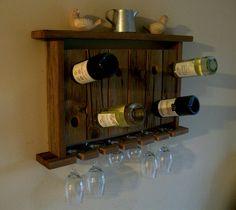 Wine Rack Wine Glass Holder Wall Shelf Riddling Rack Rustic Reclaimed Barn Wood. $79.00, via Etsy.