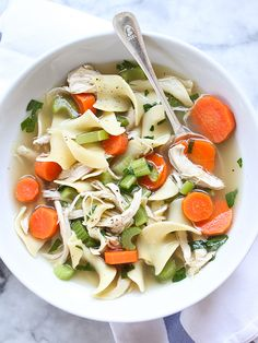 Homemade Chicken Noodle Soup with the easiest homemade broth #recipe on foodiecrush.com