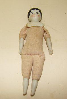 Tiny antique Bisque shoulder head doll - c. 1910