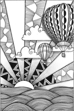 Zia: 3 of 4 Hot Air Balloons **Awesome way of teaching foreground, middleground and background, too! jlm zentangl inspir, hot air balloon drawing, drawing balloons, art, cloud, air ballon, doodl, drawings of hot air balloons, hot air balloon zentangle