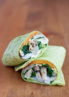 Spinach & mushroom scrambled egg wrap