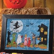 Haunted House, witch and trick or treaters to cross stitch pattern