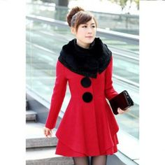 Cheap Wholesale Elegant Fur Collar Slimming Solid Color Beam Waist Rhinestone Embellished Long Sleeve Worsted Women's Coat (RED,XL) At Price 39.48 - DressLily.com