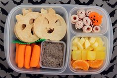 Halloween lunchbox idea: Cut tortillas with cookie cutters. This is one Pinterest bento box that's actually doable, ha.