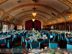 Wedding reception at the Wisconsin Club. Brown and blue linens.   Photo by: FRP
