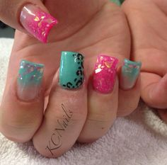 Hot pink and teal (mint green) acrylic nail fade. With pink Mylar & hand painted brown/black leopard print nail art. KCNails