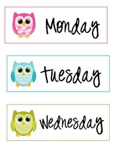 Owl Days of The Week Labels
