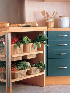 Organizing with wicker baskets - in the kitchen