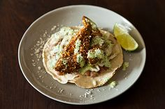 Fried Avocado Tacos with Sesame and Lime recipe from Food52
