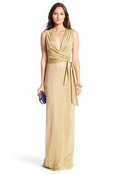 DVF Nina Metallic Gown In Gold