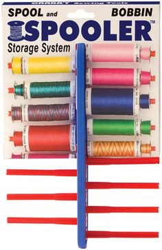 Spooler Spool and Bobbin Storage System. Keep your bobbins organized with your spools of thread using this simple organizer. Just slide your spool and bobbin onto the track and trap the bobbin thread in the slot at the end of the spindle to keep your threads neat and tidy. $7.22