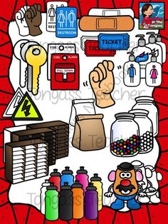"""Back to School 2 Clipart Bundle from tongassteacher on TeachersNotebook.com -  (54 pages)  - sign language signal for """"bathroom"""", hand sanitizer, restroom sign, bandaid, fire pull, electrical power sign, locks, mailbox, paper lunch bag, potato head,marble jar, tickets, water bottles"""