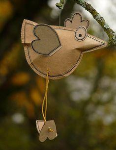 stuffed paper bird