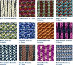 Brioche Stitch Variations In Color.