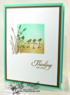 August 28, 2013  Quick Card with a WOW Factor | Cut a square with the square framelits in a piece of the Coaster board and use that as a stencil to sponge Baked Brown Sugar and Coastal Cabana ink onto Whisper White cardstock.  Then stamp images from the Wetlands set with Baked Brown Sugar ink.  <<<  Wetland Stamp Set;  Square Framelits;  Coaster board;  Baked Brown Sugar &  Coastal Cabana ink;  Whisper White,   Coastal Cabana, &   Baked Brown Sugar cardstock;  Stampin' Sponges