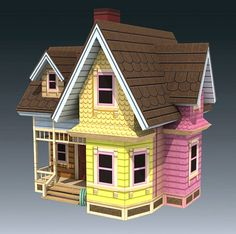 casa UP geek craft, fli hous, paper craft, papercraft, house from up, craft idea, carl hous, paper toy, paper houses