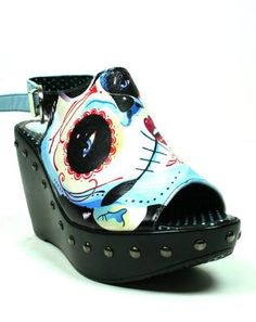 Too Fast Sugar skull Web Day of the Dead Shoes Wedge Punk Rockabilly Stud finder
