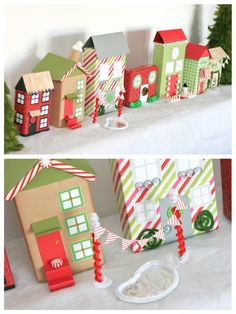 Cute Recycled Village made from old cereal boxes. #christmas #crafts