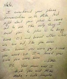Nate's dad's note. | Pictures That Prove The World Isn't Such A Bad Place