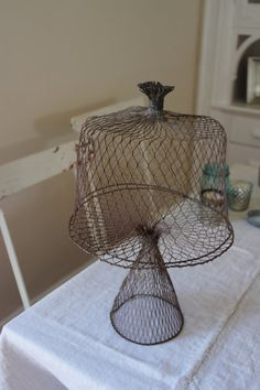 mesh wire cake stand love