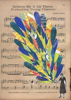 photo copy page from hymn book of Christmas hymn, then do collage artwork over the top. This looks like fun to do with any holiday or occasion!