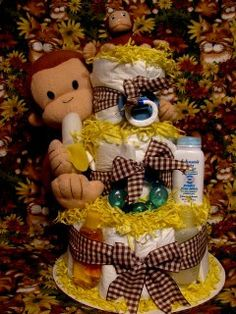 curious george baby shower | Curious George Baby Diaper Cake Shower Centerpiece Gift (11) | Flickr ...