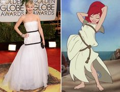 The Internet Thinks Jennifer Lawrence's Golden Globes Dress Is Channeling 'The Little Mermaid'