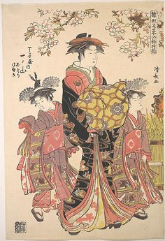 An Oiran Accompanied by Two Kamuro  Torii Kiyonaga  (Japanese, 1742–1815)  Period: Edo period (1615–1868) Culture: Japan Medium: Polychrome woodblock print; ink and color on paper