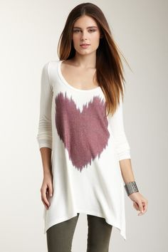Go Couture Digital Love Tunic Sweater