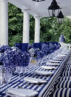 table settings, color, dinner parties, white, stripes, porch, tabl set, blues, hydrangeas