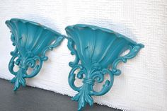 CUSTOM Color Ornate Wall Pockets set of 2- YOU Choose Color Upcycled Traditional or Mid Century Modern Shabby Chic Wall Decor