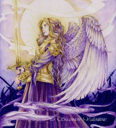 "Fantasy Warrior Angel 5x7 Art Print ""Golden Warrior"". via Etsy."