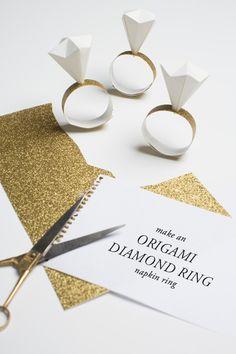 Origami diamond ring napkin rings