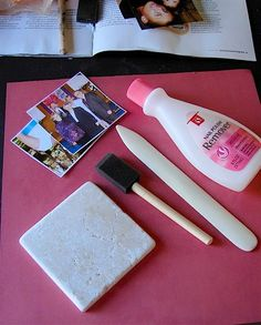 Transferring pictures to tiles by using Nail Polish Remover. Christmas gift!