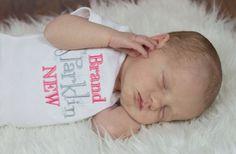 Brand Sparklin New Onesie - Embroidered Onesie - Ruffle Butt Onesie - Baby Shower Gift - New Baby Gift on Etsy, $27.00